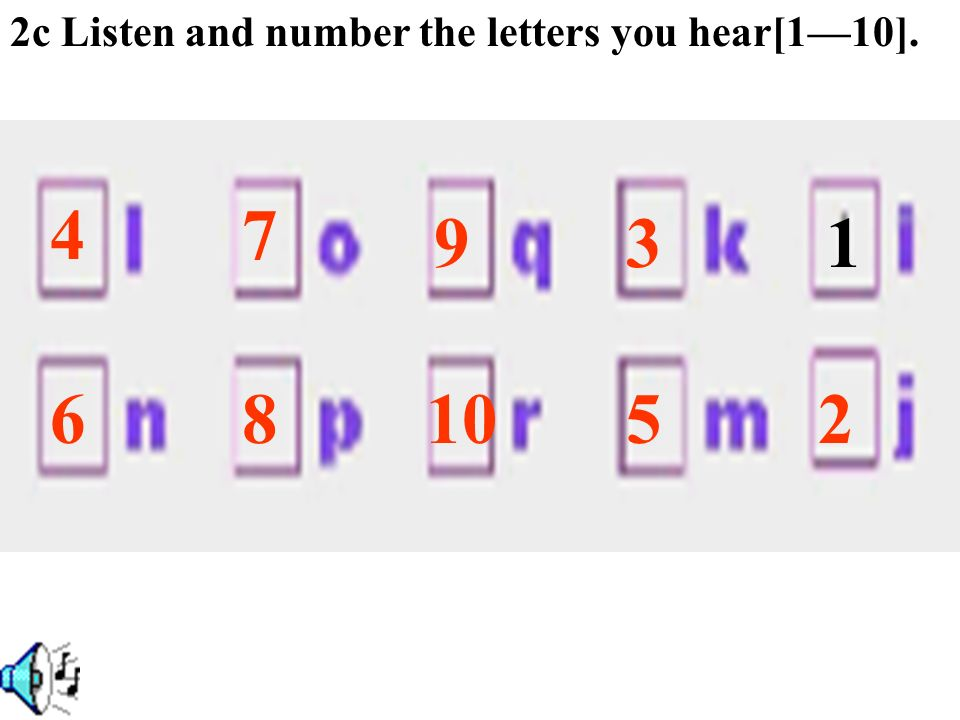 2c Listen and number the letters you hear[1—10].